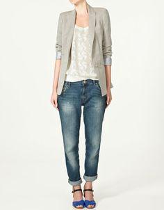 Need a grey blazer (and blue shoes) (from Zara) #fashion #zara