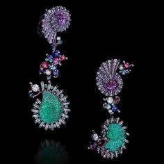 Wallace Chan Sea Fairies earrings with Paraiba tourmalines, pink sapphires, red spinels, aquamarines, sapphires, diamonds and mother of pearls