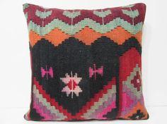 Turkish cushion 24x24 throw pillow kilim pillow case decorative pillow outdoor floor sham bohemian decor boho ethnic tribal accent rug 21500