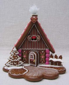 Gingerbread House Decorating Inspiration - I love the wavy base, much more interesting than the round boards that I normally use