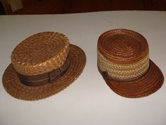2 EXCELLENT ANTIQUE MEN S STRAW HATS; ENGLISH? BOATER/SKIMMER & ITALIAN KEPI CAP  £117.19 (7B)