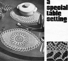 Crochet place mats napkin ring Crochet Pattern PDF square table ...