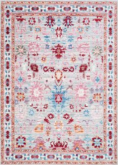 Lots of pretty florals with Rugs USA's Silky Road AS23 Cypress Allover Floral Damask Rug!