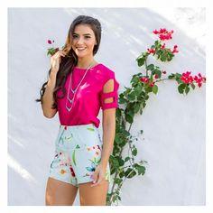Tem a estampa Meraki, linda e delicada, pra parte de baixo também! E muitas possibilidades de cores para combinar! {Blusa Wendy + Short Meraki} || *verificar disponibilidade nas lojas* || #primaveraverao2017 #angeliquenews #bougainville