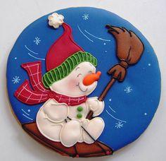 Sledding Snowman Cookie by Patricia de Sanchez Christmas Biscuits, Christmas Sugar Cookies, Christmas Sweets, Christmas Goodies, Holiday Cookies, Christmas Baking, Christmas Cakes, Fancy Cookies, Iced Cookies