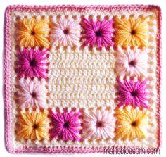 Presine a Fiori - free crochet square pattern by renee Crochet Square Pattern, Crochet Granny Square Afghan, Crochet Motifs, Crochet Cross, Crochet Mandala, Square Patterns, Diy Crochet, Crochet Patterns, Granny Squares