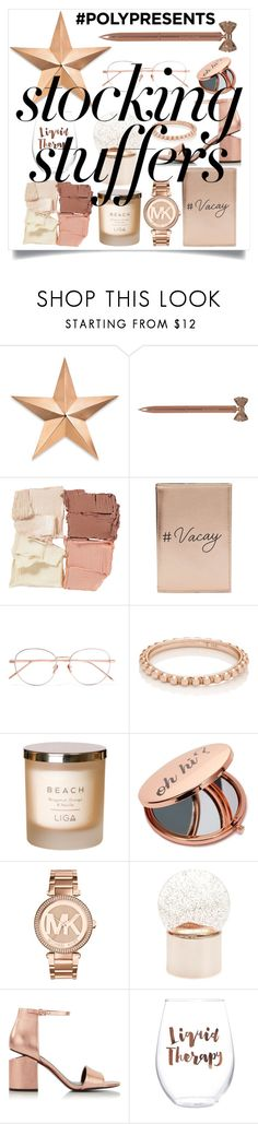 """#PolyPresents: Stocking Stuffers"" by sophie-pentel ❤ liked on Polyvore featuring Thos. Baker, John Lewis, rms beauty, Miss Selfridge, Linda Farrow, My Story, Michael Kors, Nordstrom, Alexander Wang and Slant"