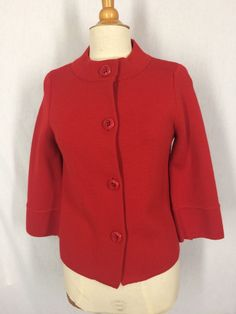 J Crew Red Wool Swing Style Sweater Jacket Size Medium Large Buttons Holiday #JCrew #Sweatercoat #Christmas