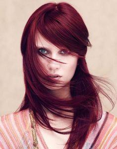 teinture acajou cheveux lisses bourgogne - Coloration Cheveux Acajou