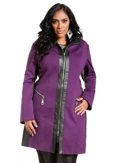 Faux Leather and Ponte Jacket - Ashley Stewart