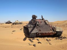 Three Soviet-era T-55 tanks abandoned in the Sahara at Bir Kora are reminders of a Libyan invention in Chad's civil wars which ended badly for Libya in 1987.