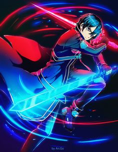 Cool anime character Kirito from Sword Art Online anime is in fight pose with two shining swords. A great choice for anime, manga and SAO lovers. Schwertkunst Online, Arte Online, Online Anime, Online Phone, Kirito Sword, Kirito Asuna, Sword Art Online Kirito, Sword Art Online Pc, Anime Angel