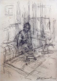 artnet Galleries: La mre de lartiste, stampa by Alberto Giacometti from Peter Findlay Gallery Alberto Giacometti, Life Drawing, Drawing Sketches, Painting & Drawing, Art Drawings, Gesture Drawing, Contour Drawings, Drawing Faces, Drawing Tips