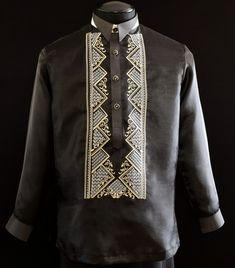 Black Organza Barong Tagalog - Barongs R us Semi Formal Wear, Formal Coat, Barong Tagalog Wedding, Filipiniana Dress, Philippines Fashion, Line Shopping, Cool Hoodies, S Shirt, Style Guides