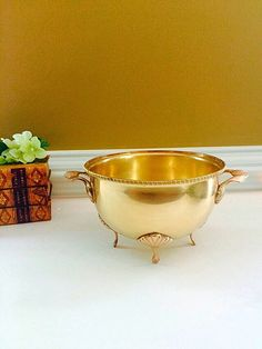 Art Deco Brass Bowl, Large Brass Planter, Centerpiece Bowl Home Decor, Gold Metal Bowl Chinoiserie Decor, Brass Decor