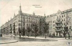 Ulica Piastowska (Piasten Strasse), widok od ulicy Sienkiewicza (Stern Strasse).Lata 1900-1905