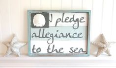 Meet Me Bye The Sea I Pledge Allegiance To The Sea Nautical Flag Plank style 24 x 17.5 Plank Style With Beachwood Encasement Seascape
