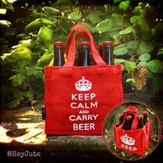 There is no Calmer way to Carry your Beer! Pay homage to your Craft & Country with these super strong Jute 6-pack Bottle Carriers that can carry 6 regular size beer bottles as well as King cans. With different artwork on both sides, they are definitely re-usable, extremely durable, and make a great gift! Click here to buy from our Etsy Store! Also available at www.HeyJute.com.