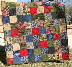 Baby Quilt Boy Blanket Army Navy Marines by SunnysideDesigns2