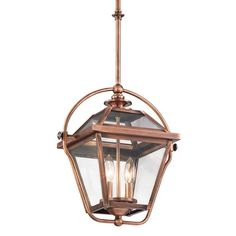 Kichler 42908 Ryegate 2-Bulb Indoor Pendant with Lantern-Style Glass Shade Antique Copper Indoor Lighting Pendants