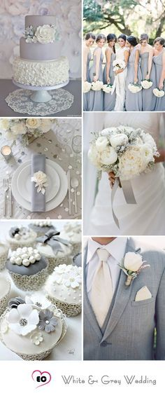 Grey and White wedding idea... Check out our Grey Satin Kimono Bridesmaids Robe for bridesmaids and bridal robe. It would be great subsidiary for your wedding plans. www.towelrobes.com