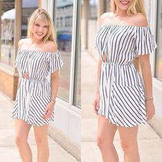 Mixed stripes off the shoulder romper | Poppy Avenue Boutique
