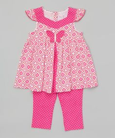 Look what I found on #zulily! Pink Butterfly Tunic & Capri Leggings - Infant, Toddler & Girls #zulilyfinds