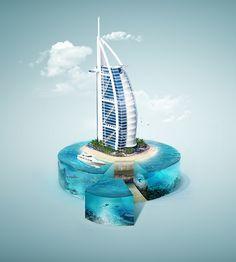 Burj Al Arab | Digital manipulation by Fabio Araujo, via Behance