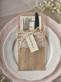 Rustic country burlap wedding menu #rusticwedding #countrywedding #weddingideas…