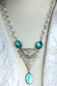 Assemblage Necklace Elementary Blue Mary and by OldNouveau on Etsy