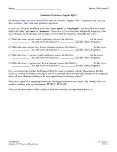 Worksheets Wave Speed Worksheet doppler effect worksheets coach hs science classes name waves worksheet 5 simu