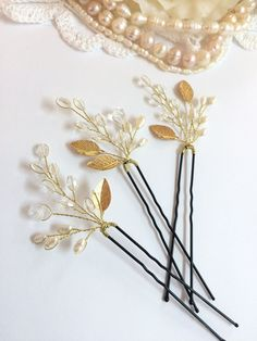 Set of 3 bridal hair pins wedding hair by FlowerRainbow on Etsy