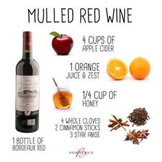 Mulled red wine recipe - Ina Garten for Food Network Christmas Drinks, Holiday Drinks, Fun Drinks, Yummy Drinks, Holiday Recipes, Alcoholic Drinks, Yummy Food, Beverages, Holiday Parties