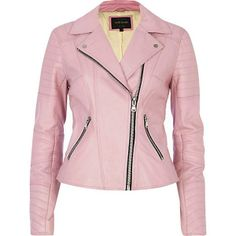 The Best Spring Jackets and Coats to Buy Now: Pink leather biker jacket, $240, available at River Island.