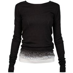 ANN DEMEULEMEESTER Knit Softcash - Black knit cotton/cashmere-blend sweater with a contrasting grey speckled design graduating into white at the ribbed hem.