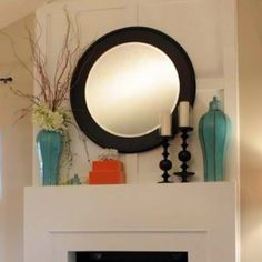 mantle decor with pop of color
