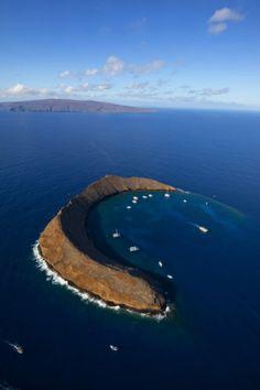 Aerial view of Molokini Crater off the island of Maui, Hawaii - Douglas Peebles, photographer