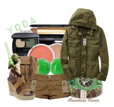 """Yoda (Star Wars)"" by claucrasoda ❤ liked on Polyvore featuring moda, Bare Escentuals, Free People, Gap e House of Harlow 1960"
