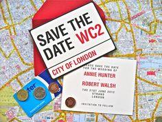 London Save the Dates #invitation #wedding #invites #savethedate
