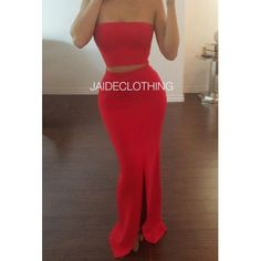 Megan Red Tube Crop Slit Outfit - Jaide Clothing