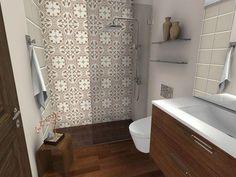 Obtain rerouted right here Bathroom Renovation Diy Wood Floor Bathroom, Art Deco Bathroom, Bathroom Tile Designs, Wooden Bathroom, Bathroom Shower Curtains, Bathroom Flooring, Bathroom Ideas, Shower Ideas, Small Tile Shower