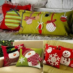 DIY Christmas Pillows : Bring The Essence Of Holiday Season Noel Christmas, Homemade Christmas, Christmas Stockings, Christmas Ornaments, Christmas Balls, Simple Christmas, Christmas Sewing Projects, Holiday Crafts, Christmas Cushions