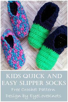 Kids Quick and Easy Slipper Socks – Free Crochet Pattern (EyeLoveKnots) - Dessandales Easy Crochet Slippers, Crochet Slipper Pattern, Kids Slippers, Slippers For Girls, Crochet Socks, Knitted Slippers, Crochet Clothes, Crochet Toddler, Crochet For Boys