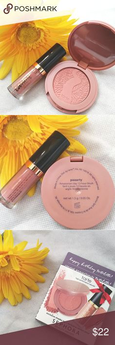 """👝TARTE 2PC Natural Beauty Lip Paint + Blush Kit👝 This is a two piece, Sephora beauty exclusive [sample size] set! High performance natural sample kit includes: Lip paint in """"Birthday Suit"""" and 12-hour blush in """"Paaarty"""" by TARTE.  🔸Unused! (See pictures for detail) 🔸Cruelty free! 🔸Perfect size to try out a new product or just to accent your minimalist lifestyle!  🚫 NO TRADES 💲 PRICE IS REASONABLY NEGOTIABLE ✅ QUESTIONS/BUNDLE OFFERS ARE WELCOMED Sephora Makeup"""