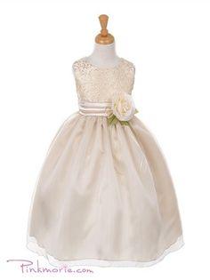 Champagne Jacquard Bodice Girl Dress