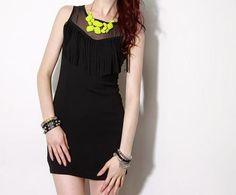 Find neon necklace for black dress