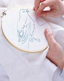 The dainty details of embroidery, with its interlocking loops of silky thread, perfectly capture the light-as-air quality that birds embody.