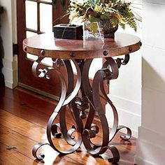Iron Base Occasional Table with Copper Top