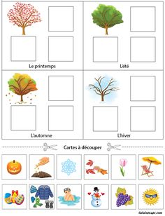 Playful exercise to print, the seasons 3 Year Old Preschool, Preschool Activities At Home, Seasons Activities, Preschool Lesson Plans, Free Preschool, Preschool Worksheets, Seasons Kindergarten, Preschool Kindergarten, Preschool Learning