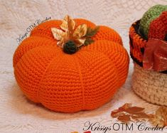 "It's so good to see you on ""My Side Of The Mountain""! Let's crochet a Big Pumpkin! It's easy! Decorating with these lovely Big Pumpkins is so much fun! Crochet Fall, Holiday Crochet, Cute Crochet, Crochet Crafts, Easy Crochet, Crochet Projects, Crochet Ideas, Crochet Things, Yarn Projects"